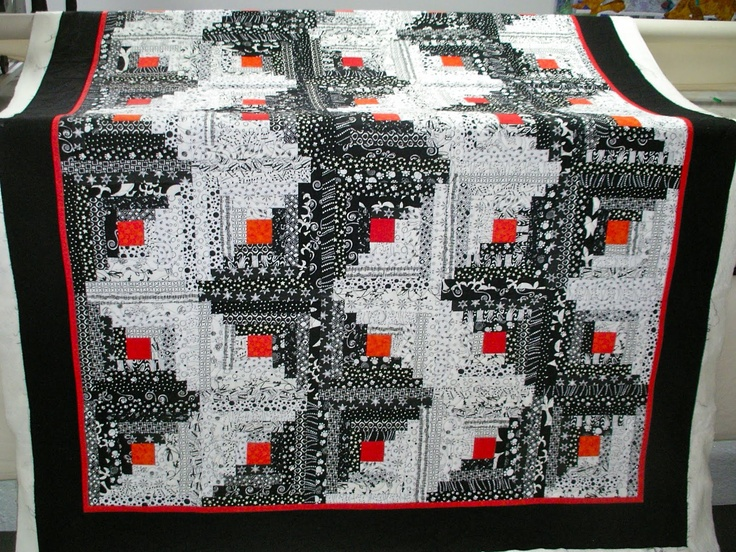 1000 images about quilts log cabin streak of lightning for Black white and gray quilt patterns