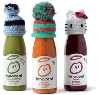 petites bouteilles avec exemples de petits bonnets