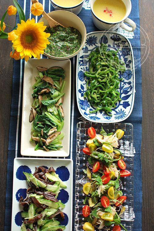 0718夏野菜の和風マリネ、きゅうりと木耳のサラダ、ピーマン、小松菜、スープ、モロヘイヤなど