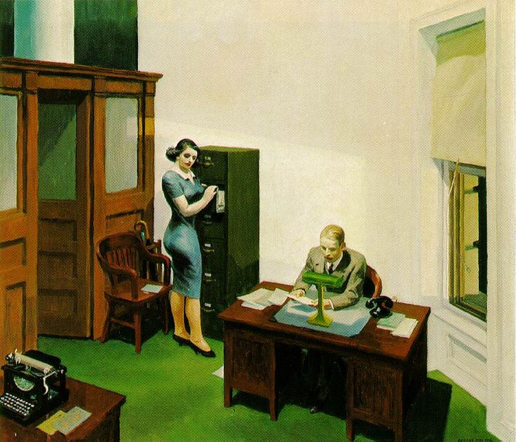 Office at Night - Edward Hopper  1940 (120 Kb); Oil on canvas, 22 1/8 x 25 inches; Walker Art Center, Minneapolis, Minnesota