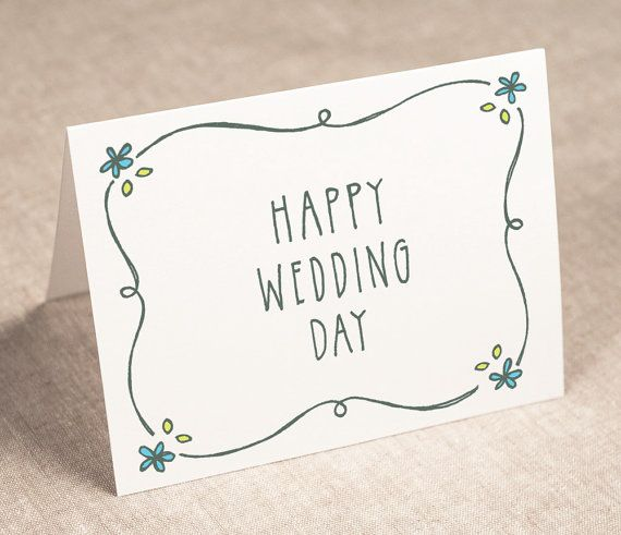 wedding congratulations card - happy wedding day - recycled paper