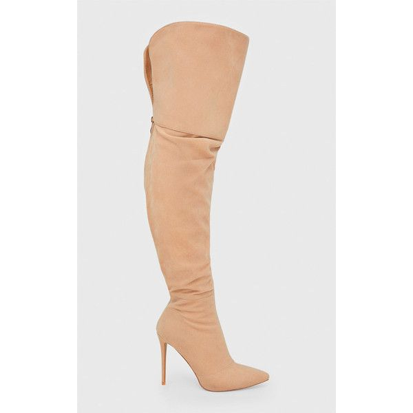 Nude Faux Suede Thigh High Heeled Boots (£73) ❤ liked on Polyvore featuring shoes, boots, heeled boots, faux suede over the knee boots, nude boots, faux suede thigh high boots and over the knee thigh high boots