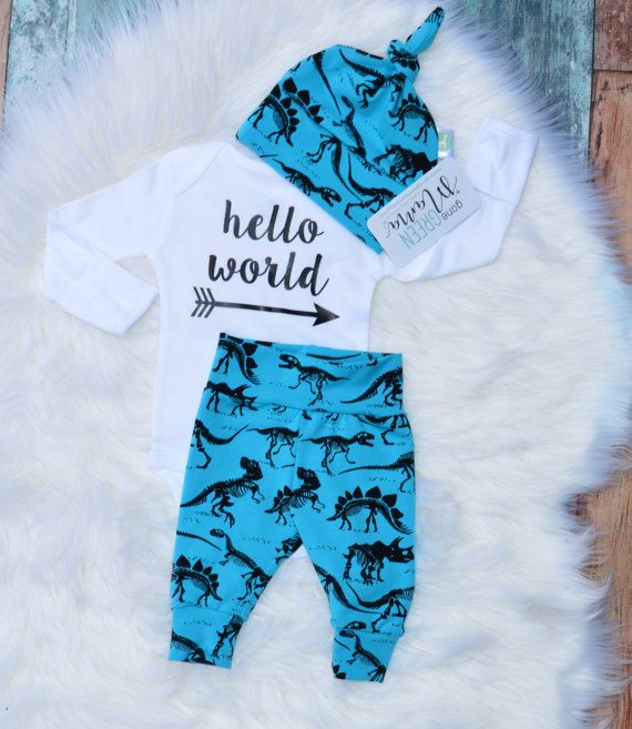 Ready to ship Hello World Dinosaur outfit baby by GoneGreenMama