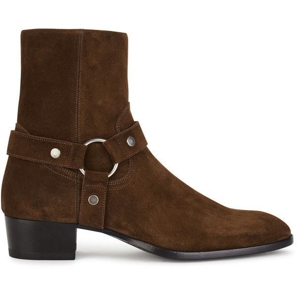 Saint Laurent Brown harness suede boots ($890) ❤ liked on Polyvore featuring men's fashion, men's shoes, men's boots, mens zipper boots, mens brown suede chelsea boots, mens brown suede shoes, mens cuban heel shoes and mens harness boots