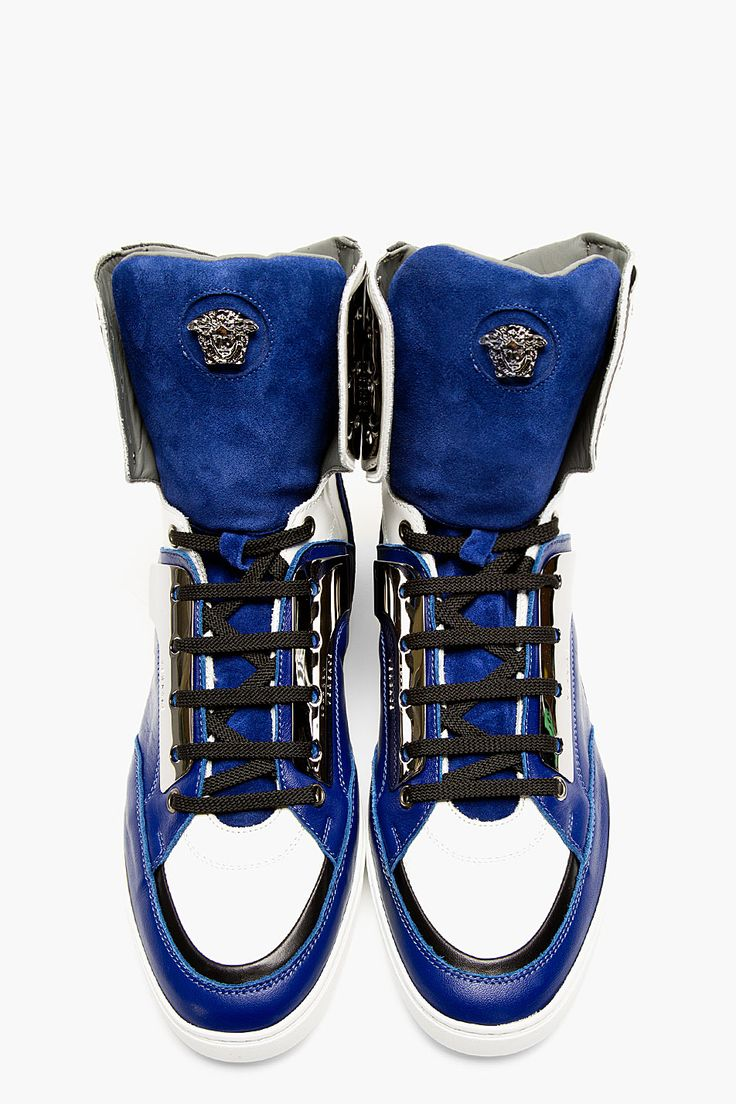 VERSACE Blue Tricolor LEather Metal-Plated Sneakers