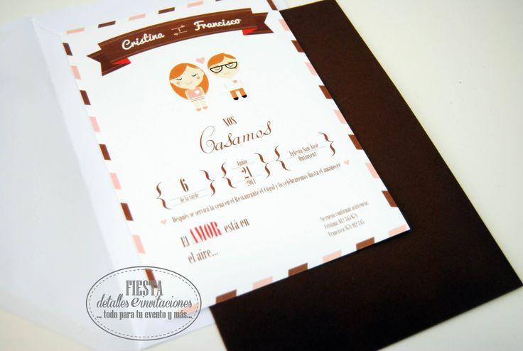 Nueva #invitación de #boda cartas de amor, un #diseño entre vintage y actual, con colores muy otoñales, como todos nuestra #colección se puede personalizar.