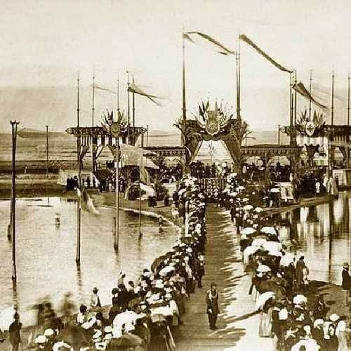 A rare photo depicting the opening of the Suez Canal in 1869.