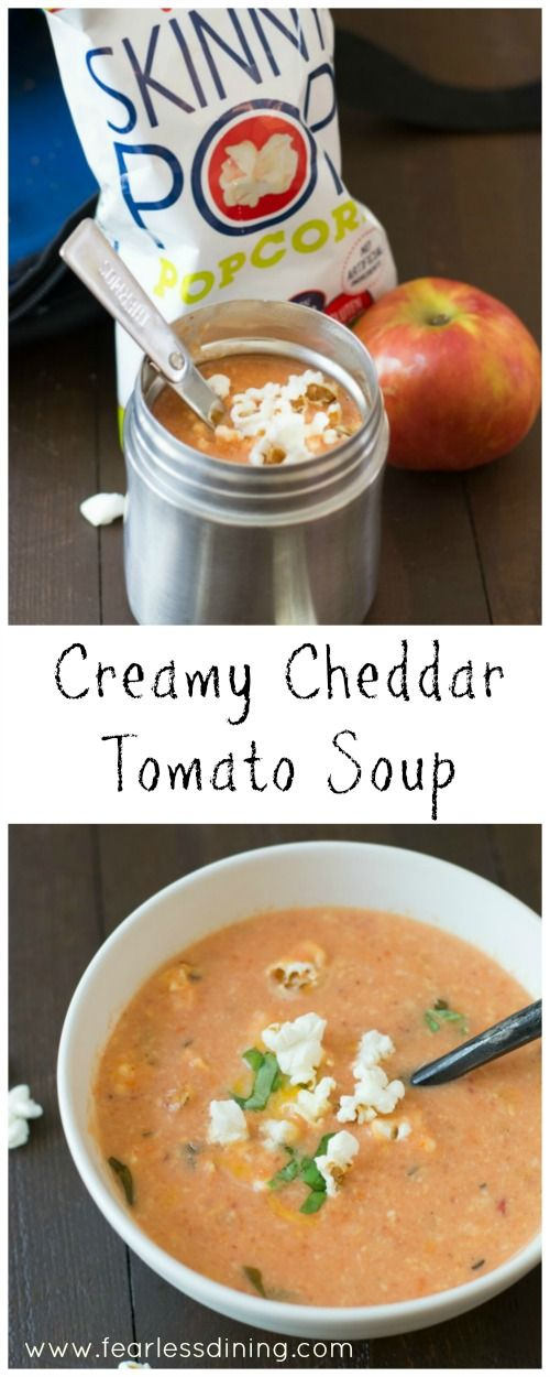Creamy Cheesy Tomato Soup is a delicious soup that is perfect for your lunchbox. Recipe at http://www.fearlessdining.com