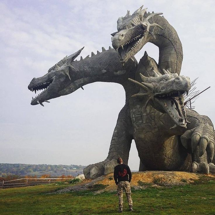A three-headed dragon statue in Russia. It's representative of Zmey Gorynych, a dragon in Slavic mythology