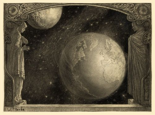 Illustration by artist Wladyslaw Theodore Benda, it shows a window opening to a view of the Earth, the Milky Way and the Moon. The image was done in charcoal and originally appeared in the March, 1918, edition of Cosmopolitan along with an article titled 'The Future of the Earth,' by Maurice Maeterlinck.