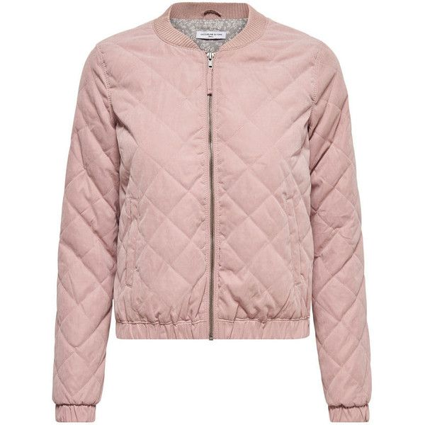 BOMBER QUILTED JACKET ($39) ❤ liked on Polyvore featuring outerwear, jackets, bomber style jacket, pink jacket, quilted jacket, bomber jackets and pink bomber jacket