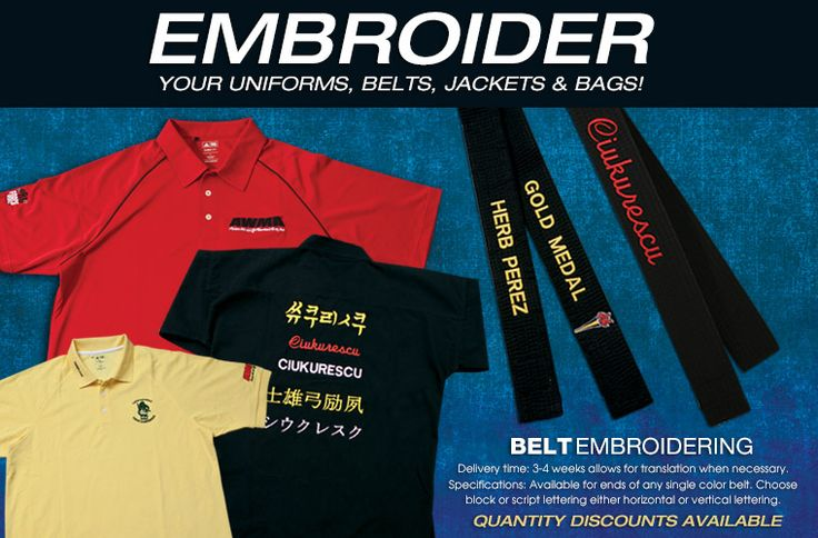 Martial Arts Supplies, Uniforms, Weapons & Gear, Karate Uniforms, Belts, Sparring Gear Store, Buy Karate Equipment - AWMA.com - Custom Embroidery