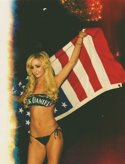 How kickass it is to live in America! Remember our Vets ❤ CrispyBikinis.com // jack daniel's, alcohol, party, celebrate, appreciation, american flag, blond, model milanya, fashion show, hollywood, california, USA