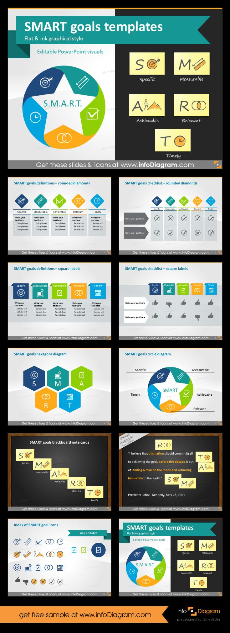 SMART goals setting graphics for business presentations.  Explanation of S.M.A.R.T. acronym. Defining goals a Specific, Measurable, Achievable, Related and Timely. Flat design diagrams with simple icons and handdrawn icons