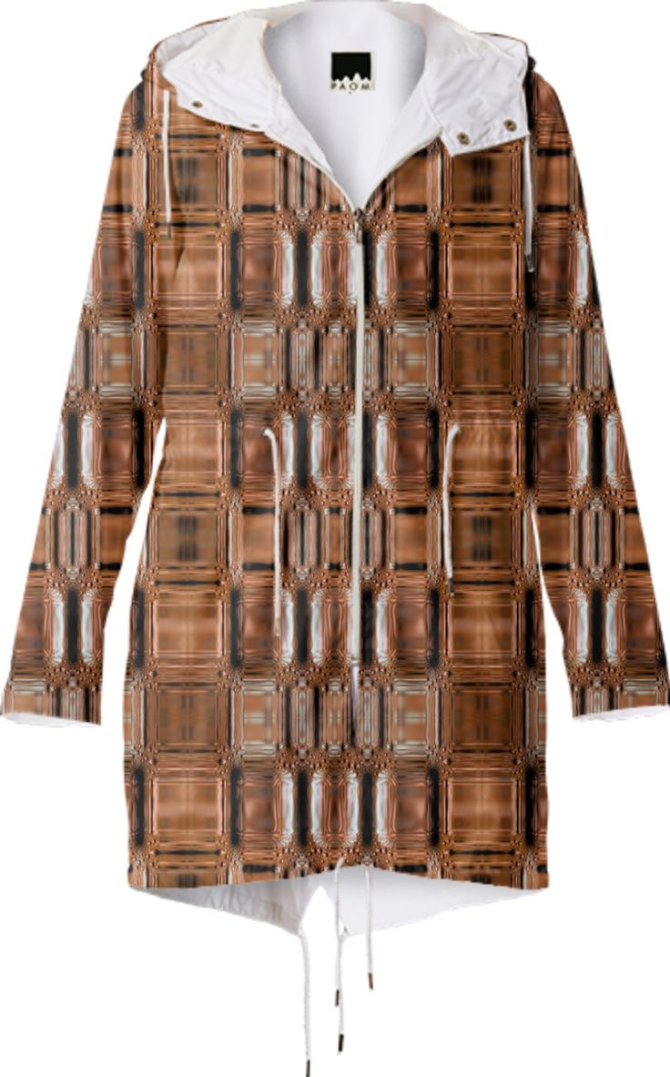 Rain coat in geometric bronse pattern from Print All Over Me
