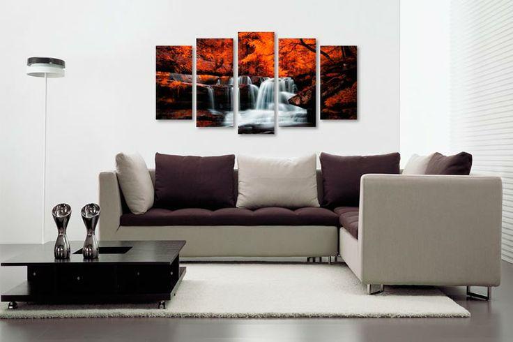 Tablou realizat din 5 bucati, un decor deosebit pentru un living elegant.