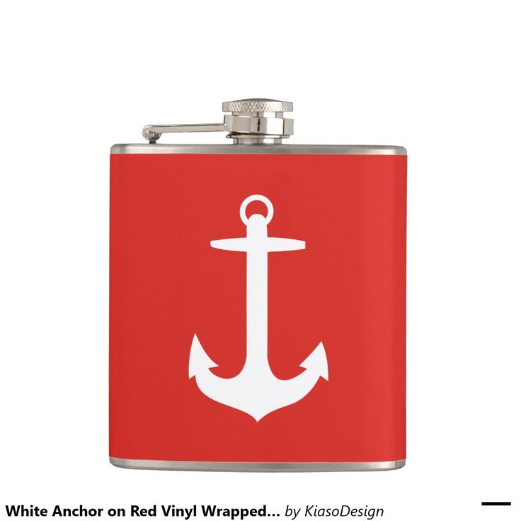 White Anchor on Red Vinyl Wrapped Flask
