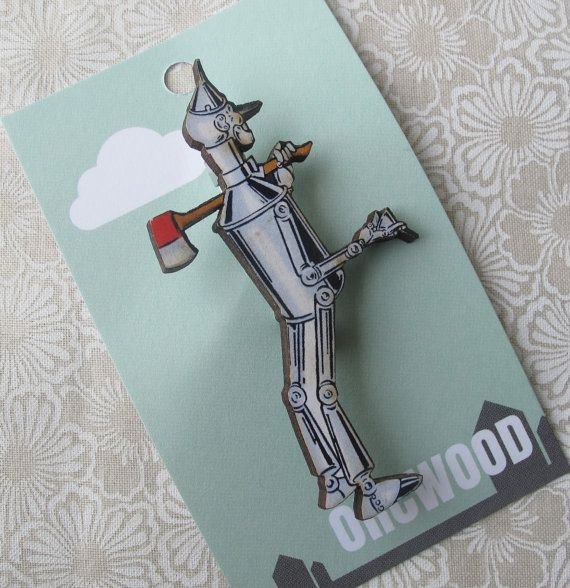 Wood Brooch  Tin Woodman Wizard of Oz by orcwood on Etsy