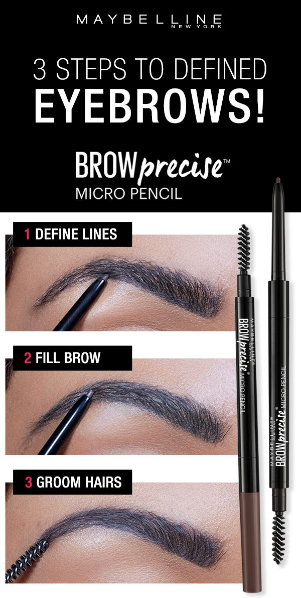 Get natural looking, defined eyebrows with the Maybelline Brow Precise Micro Pencil. First, use the micro find tip to define the lines of your eyebrow for precise application.   Then, use the micro fine tip to draw in natural, hair like strokes to fill in brows.  Lastly, use the spoolie end to groom hairs and set the brow in place. Click through and find your perfect brows using the Brow Play Studio by Maybelline!