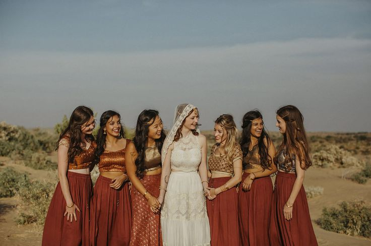 Bridesmaids in traditional Indian dresses