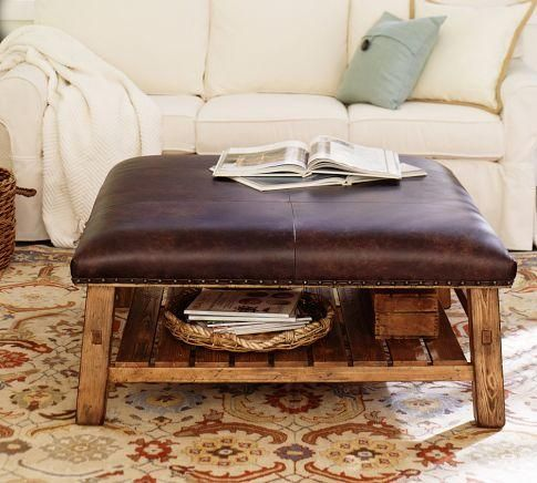 Caden Leather Square Ottoman | Pottery Barn
