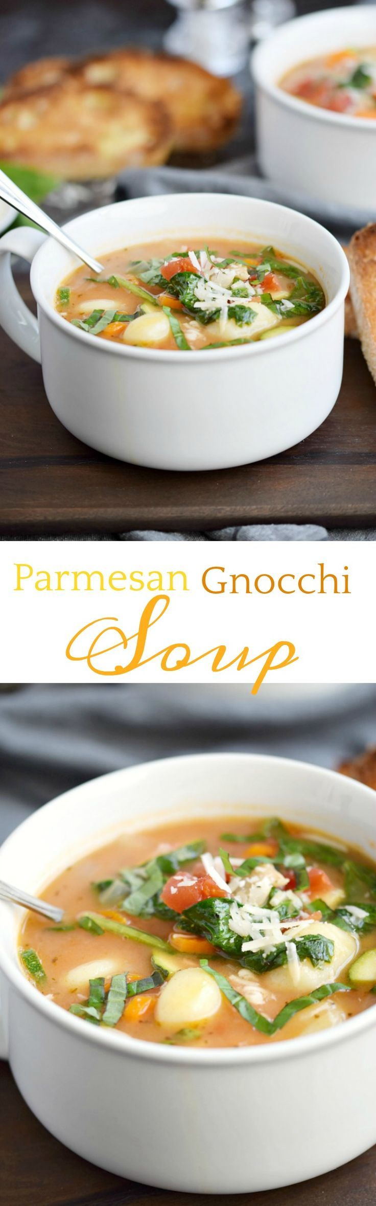 Parmesan Gnocchi Soup flavored with the rind from Parmesan cheese and loaded with vegetables for a healthy and delicious meal the whole family will love! COPYRIGHT ©️️ 2017 COOKING WITH CURLS