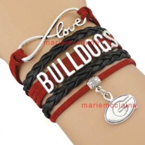 University of Georgia Bulldogs Leather Charm Bracelet