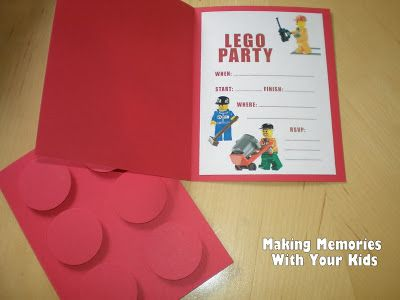 Lego birthday party invitations with free printable
