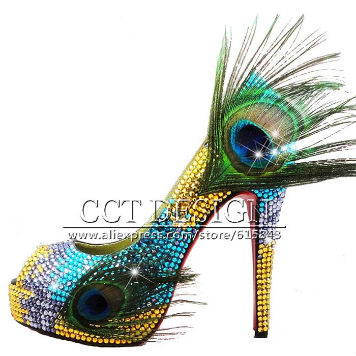 Rhinestones Wedding Shoes Gold And Blue High Heels Peacock Feather Women Pumps Peep Toe Platforms Party Prom Evening Shoes