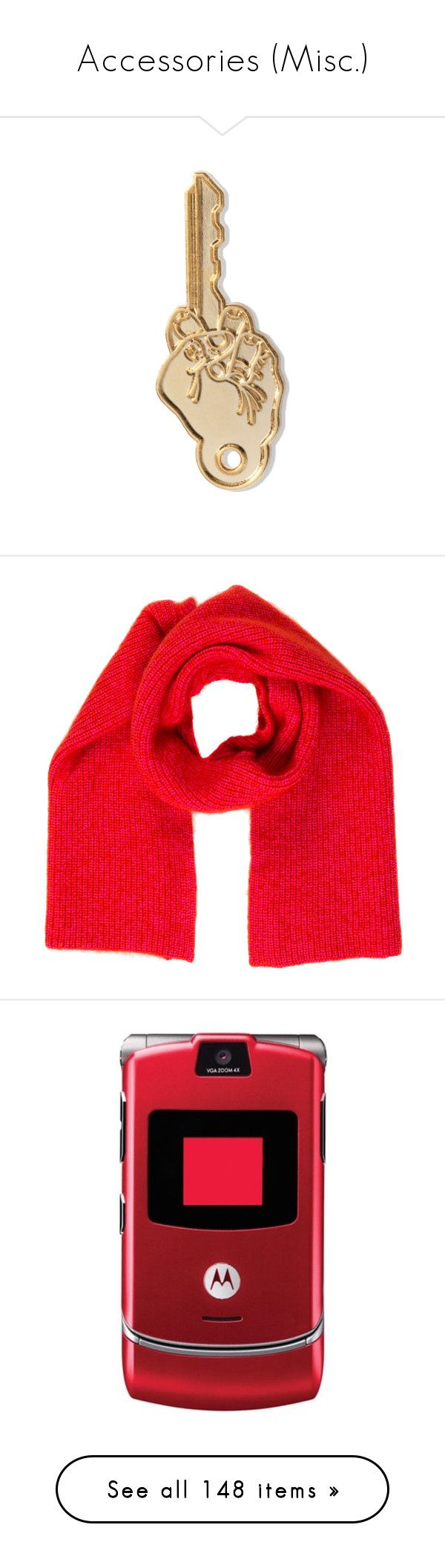 """""""Accessories (Misc.)"""" by oh-aurora ❤ liked on Polyvore featuring fillers, accessories, keys, other, scarves, red, knit shawl, red shawl, red scarves and knit scarves"""