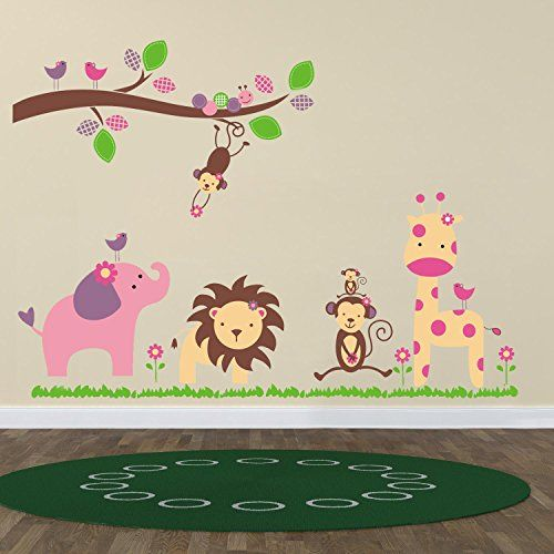 Animal Lion Giraffe Monkey Wall Stickers With Decor Decal Art For Kids Nursery Bedroom