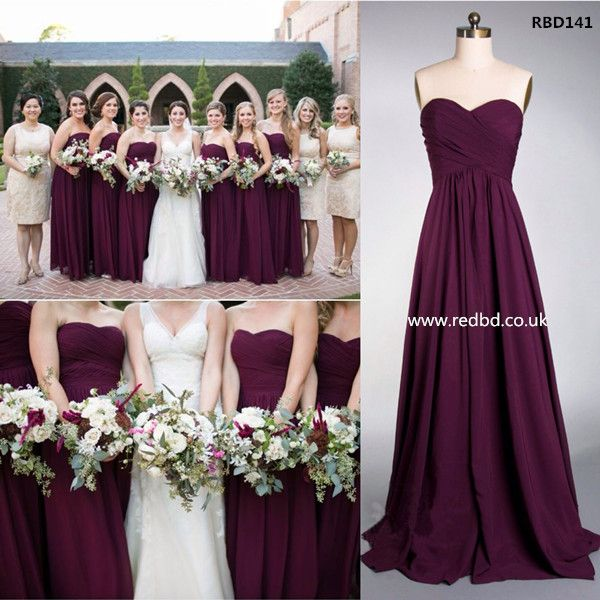 bridesmaids dresses different colors plum - Google Search