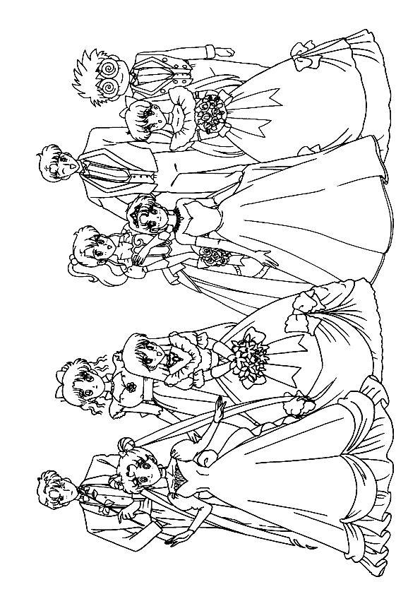 Kleurplaat bruiloft / Coloriage Mariage Sailor Moon