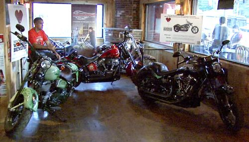 Custom Dirico motorcycles on display at the Broken Spoke Saloon in Laconia, NH