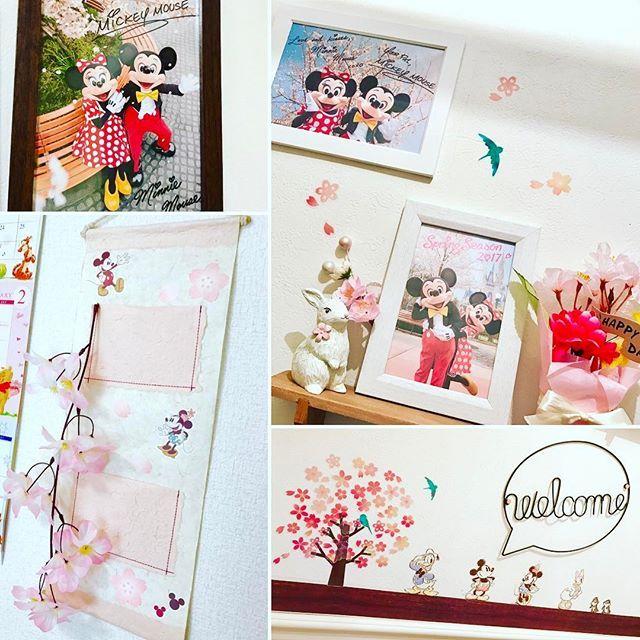 【kk.love_mfd】さんのInstagramをピンしています。 《皆さん、おはようございます☀  今日もお天気良いのに風がビュービュー吹いてますね😖 . 春が待ち遠しいこの頃🌸 お家の中にも桜インテリアが増えてきました✨ ミキミニのサクラシリーズ、やっぱり可愛いです😍 . #桜 #サクラ #さくら #桜インテリア #春インテリア #春を感じるインテリア #ミッキー #ミニー #ミキミニ #ディズニー #サクラシリーズ #さくらシリーズ #東京ディズニーリゾート #パークグッズ #ウォールステッカー #ウォールポケット #和紙 #桜雑貨 #100均 #セリア #ダイソー #welcomeプレート #welcomeオブジェ  #サリュ #インテリア雑貨 #インテリア  #リメイク #ディズニーリメイク #ディズニー大好き》