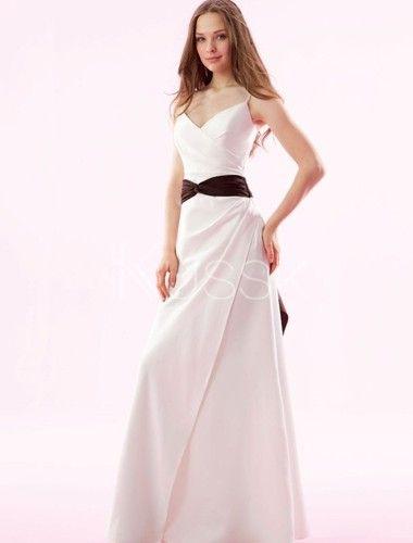 A-Line bescheidenes bodenlanges Dünnes Brautjungfernkleid für Apfelförmige Figur