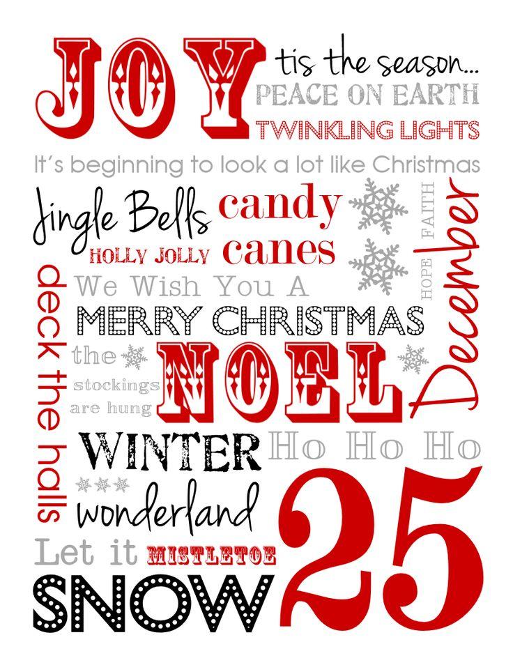 Free Christmas Subway Art Printables