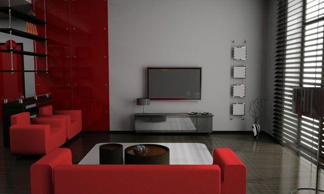 Decorar salón en rojo, negro y gris