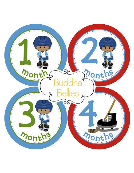 Baby Boy Hockey Brown Skin Monthly Baby Stickers Hockey Skates Hockey Puck Hockey Sticks - Month to Month Baby Decals - Bodysuit Stickers