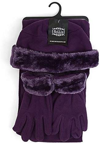 d068b7a2c1b Women s 3 PC Cloche Faux Fur Trim Fleece Hat Scarf   Gloves Winter ...