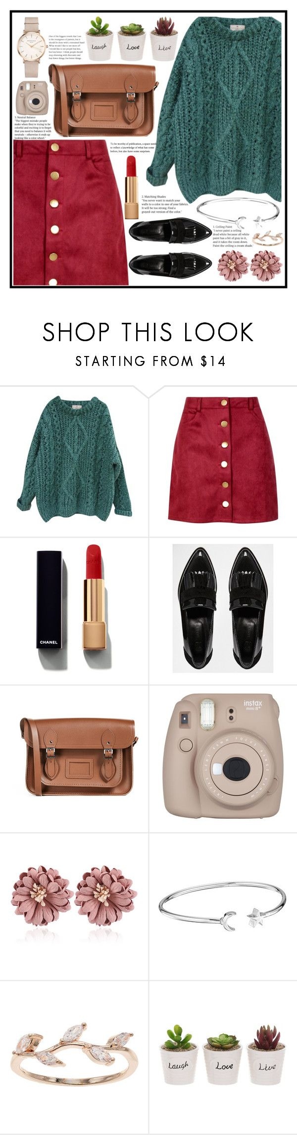 """""""Cutesy artist"""" by rmarie2001 ❤ liked on Polyvore featuring Essentiel, Boohoo, Chanel, River Island, The Cambridge Satchel Company, Fujifilm, Alex and Ani, LC Lauren Conrad and ROSEFIELD"""