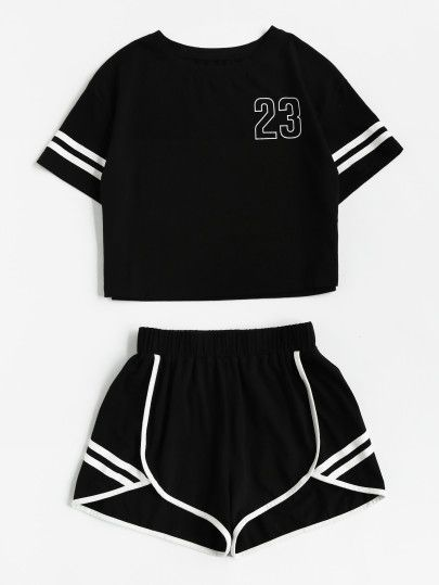 Crop T-Shirt and Shorts Set with Notch