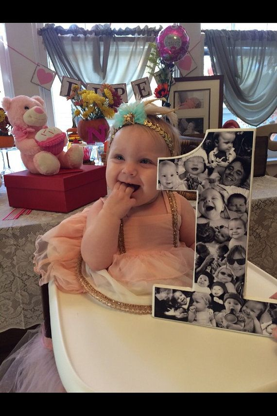 Black and white photo collage on 12 inch (or larger!) number one. Great for first birthday parties! Showcase your one year olds birthday photos