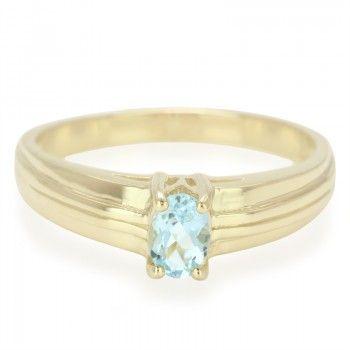 Bague pour homme en or sertie d'une Aigue-Marine de Santa Teresa - Bijoux de mariage bleu ciel - Juwelo bijouterie en ligne