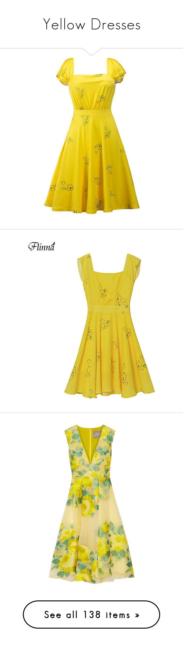 """""""Yellow Dresses"""" by lence-59 ❤ liked on Polyvore featuring dresses, holiday party dresses, yellow formal dresses, holiday cocktail dresses, formal evening dresses, cocktail dresses, bright yellow, multi color dress, multi-color dresses and floral pleated dress"""