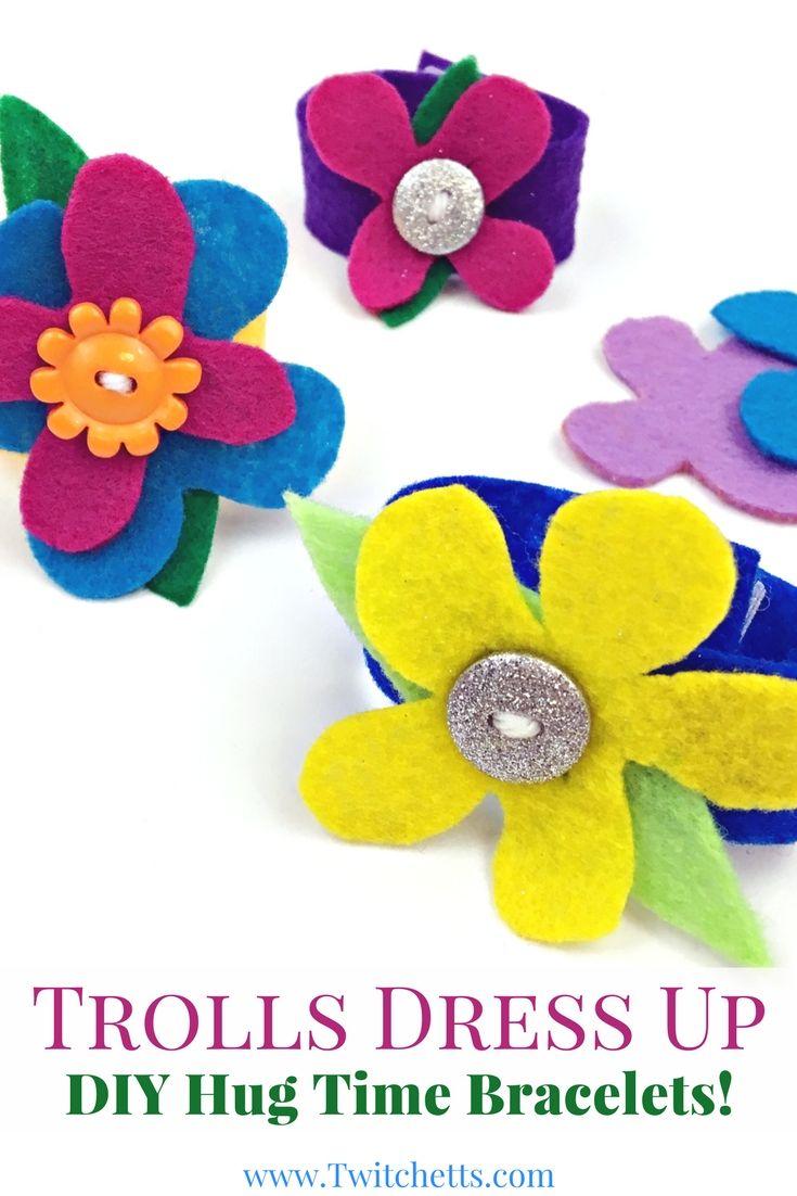 Birthday craft ideas for girls - Trolls Dress Up Hug Time Bracelet Trolls Birthday Party Favor