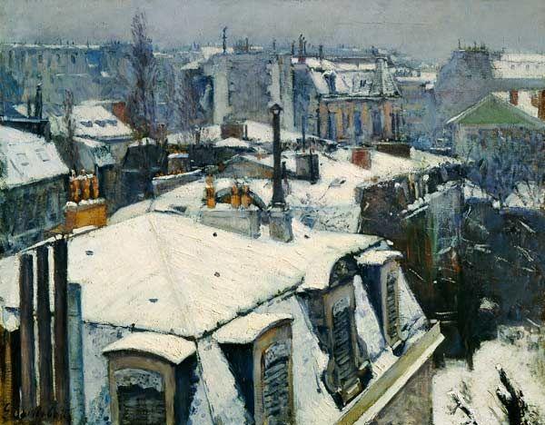 Titre de l'image : Gustave Caillebotte - Paysage de toit dans la neige