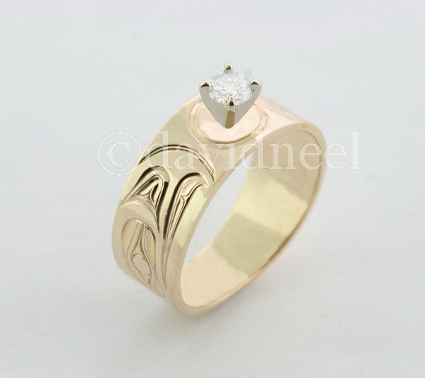 New Work: Eagle Ring, 14K gold with a 1/4 carat diamond.   #native-art #native-american-art #northwest-coast-native-art #kwakiutl-art #haida-art #first-nations-art #diamond-ring #gold-ring  http://www.davidneel.com/native-jewelry-diamond-rings-c-53_24.html