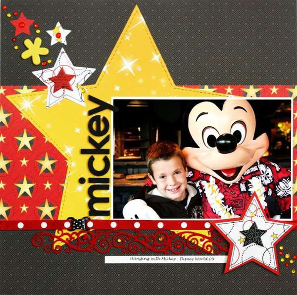 disney scrapbook layouts - Bing Images really really like this with the stars could even do this for princess maybe in other colors.  would be good for bippity boppity boutique?