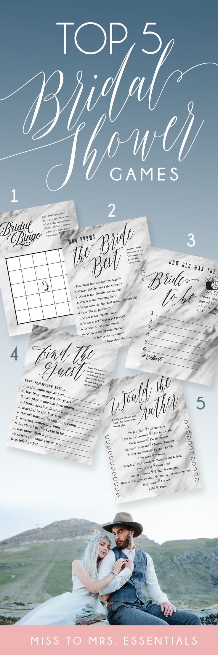 Find the best Bridal Shower Games online at Miss to Mrs. Essentials. bridal shower games that don't suck, bachelorette parties, bachelorette parties games, bridal shower ideas, Fun, Rustic, funny, modern bridal games, bridal shower themes, bridal shower bingo, bridal shower he said she said, bridal shower how old is the bride game, bridal shower would she rather game, bachelorette party games, bachelorette party ideas, game printables, #printable #bachelorettepartyideas #bridalshowergames
